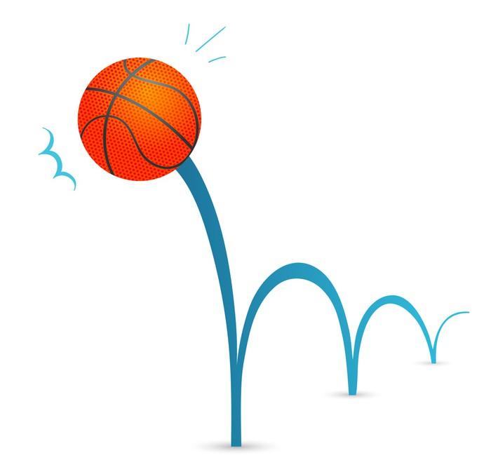 Vinilo Pixerstick Bola que despide baloncesto ilustración de dibujos ...