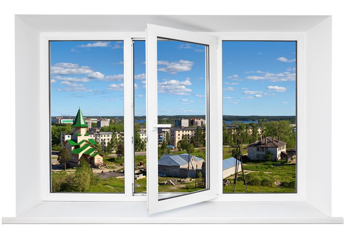 White Plastic Triple Door Window With City View Through Glass Wall