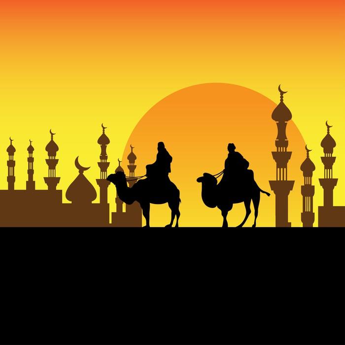 Carta da parati beduini che si avvicinano una citt for Carta da parati vinile