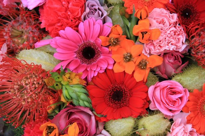 Nálepka Pixerstick Červená, růžová a oranžová aranžování květin - Květiny