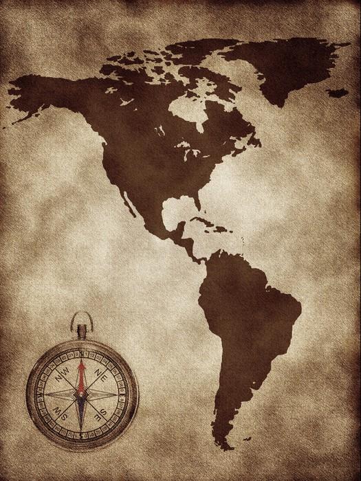 Vinylová Tapeta Mapa s kompasem Severní a Jižní Amerika - Amerika
