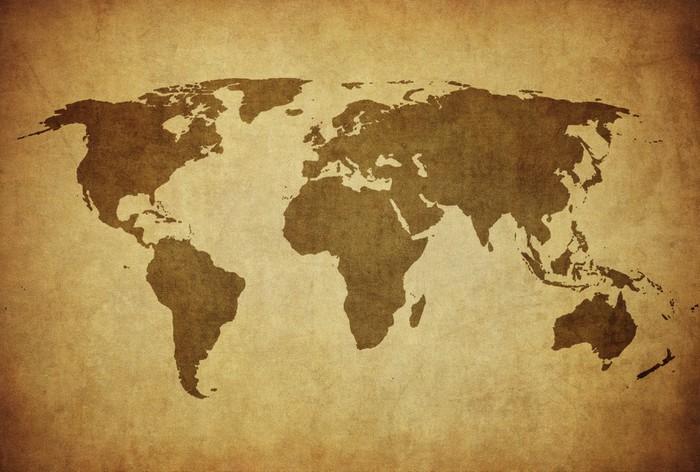 Papier Peint Vinyle Carte de cru du monde - Thèmes