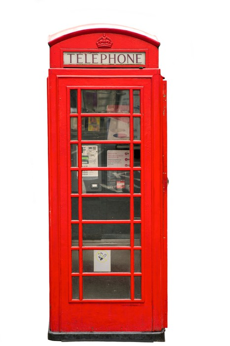 British Red Phone Booth Isolated On White Sticker Pixers