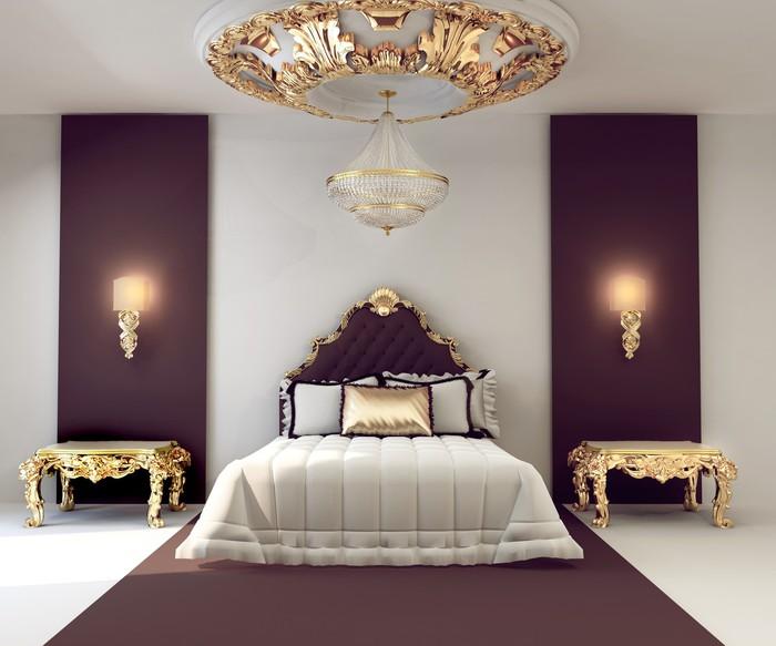 Carta da Parati Di lusso camera da letto matrimoniale con mobili d ...