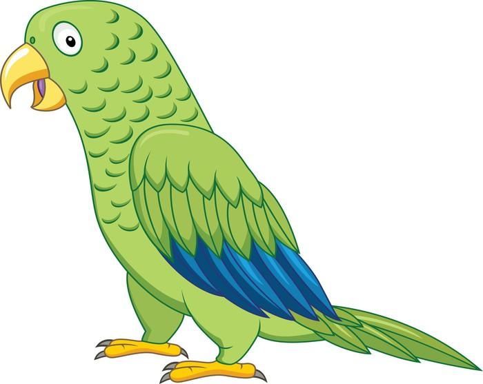 Adesivo verde pappagallo cartone animato pixers
