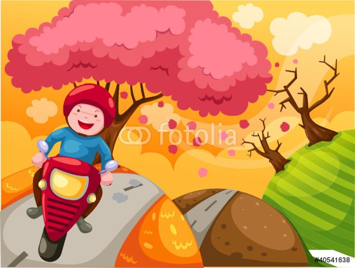 Fototapete landschaft cartoon jungen motorradfahren for Fototapete jungen