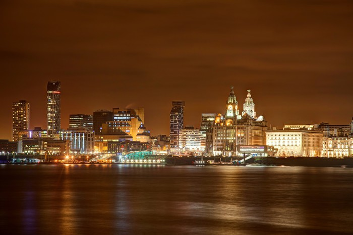 Liverpool night cityscape Wall Mural Pixers We live to change