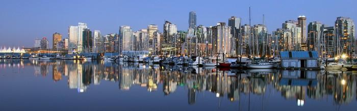 Vinylová Tapeta Vancouver do města večer, Kanada BC - Amerika