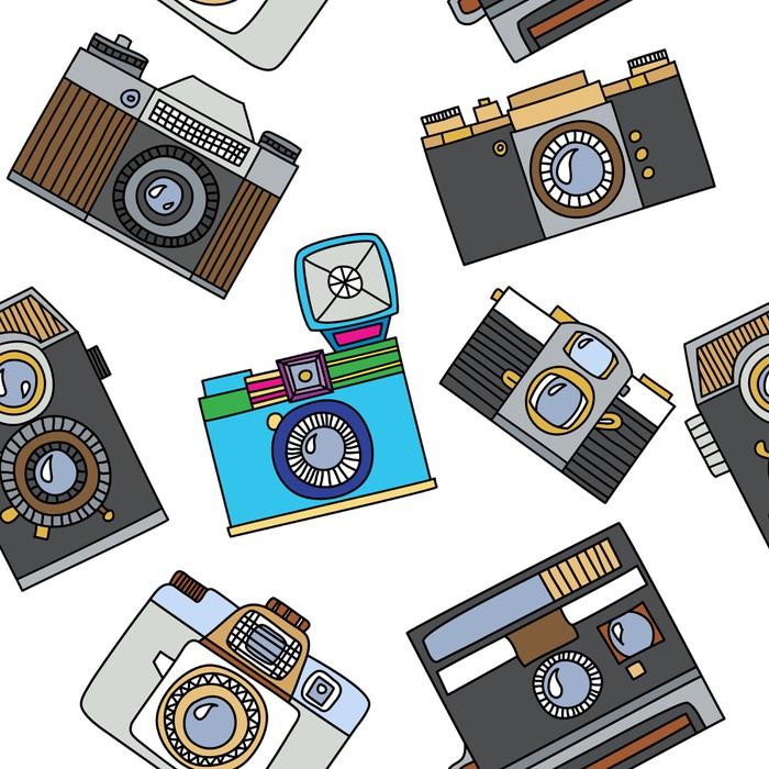 Papier Peint Vinyle Seamless pattern avec des caméras rétro bande dessinée -