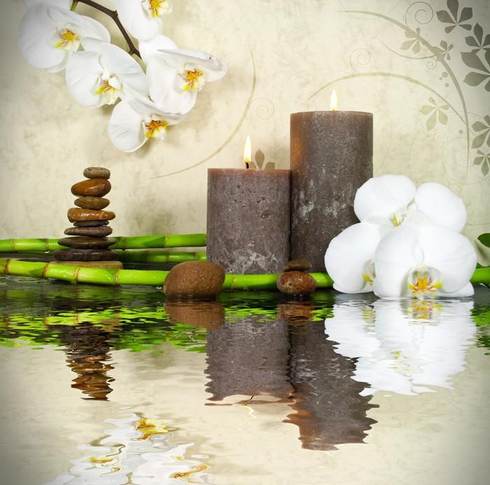 fototapete orchidee wei mit bambus und kerzen und steinen. Black Bedroom Furniture Sets. Home Design Ideas