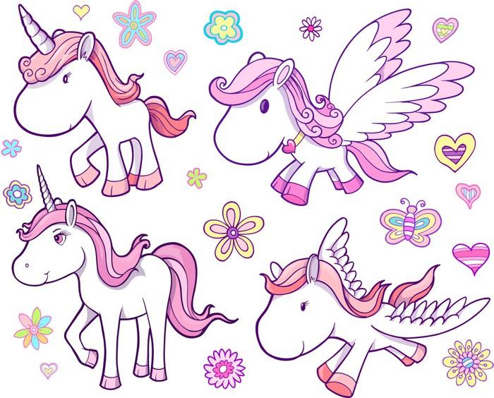 Libreta De Dibujo Mandala Unicornio Papel Blanco: Vinilo Pixerstick Unicornio Y Pegaso Vector Set • Pixers