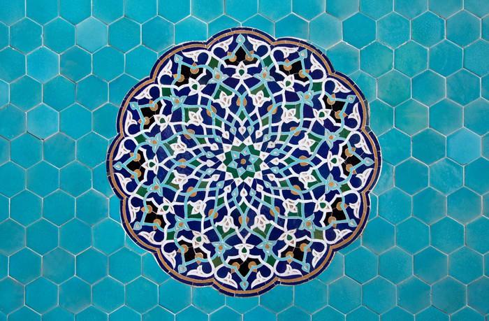 fototapete islamische mosaik muster mit blauen kacheln - Mosaik Muster