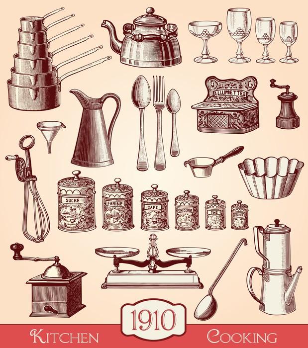 Sticker ustensiles de cuisine pixers nous vivons pour for Ustensiles de cuisine retro