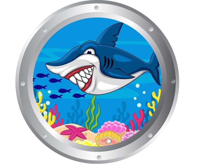 Adesivo cartone animato shark con cornice oblò pixers