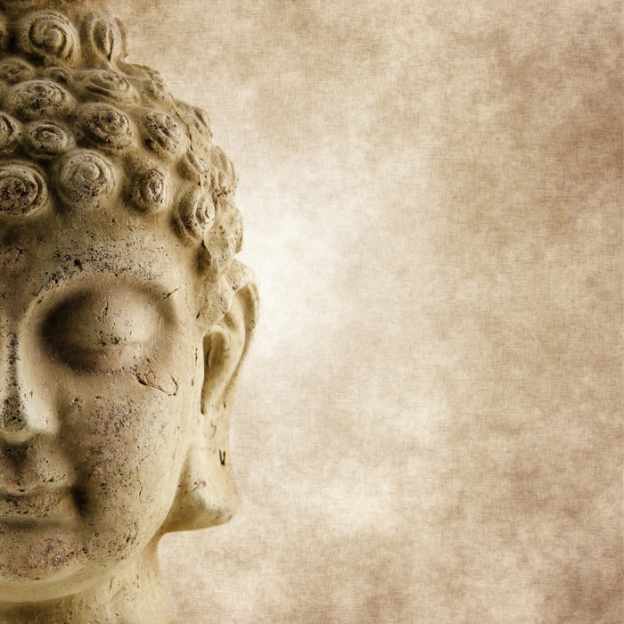 Buddha grunge face wall mural pixers we live to change for Buddha mural wallpaper