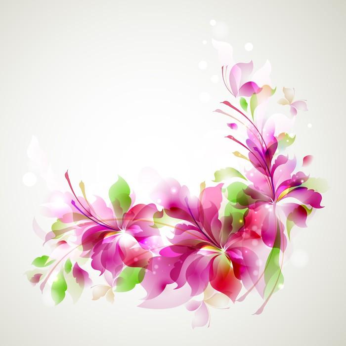 Vinylová fototapeta Abstraktní květiny a drobné motýly - Vinylová fototapeta