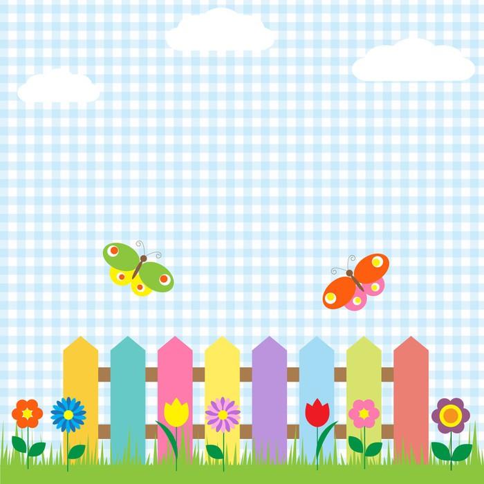 Vinylová fototapeta Barevné plot s květinami a motýly - Vinylová fototapeta