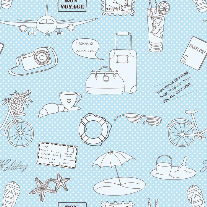 Vinylová Tapeta Cestovní pozadí. bezešvé vzor - Prázdniny