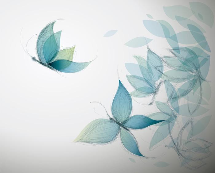 Vinylová Tapeta Azure Květiny jako motýli / Surreal Sketch - Styly