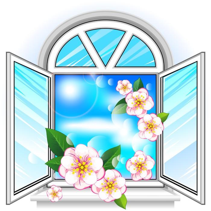tableau sur toile fen tre printemps pixers nous vivons pour changer. Black Bedroom Furniture Sets. Home Design Ideas