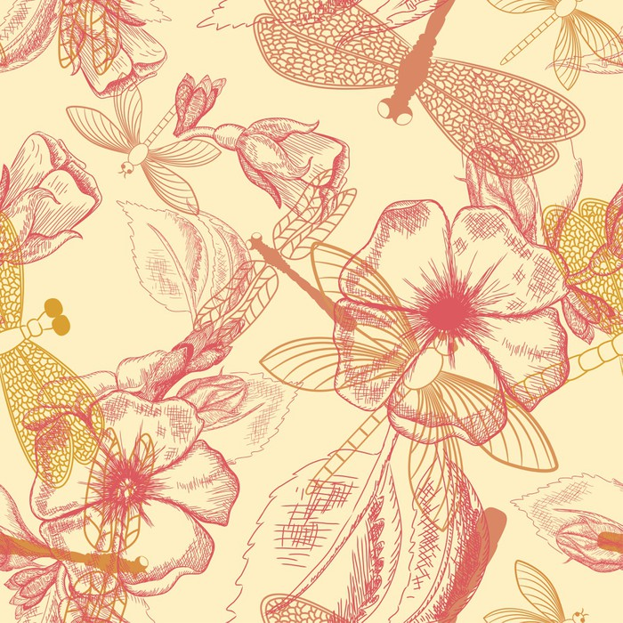 Vinylová Tapeta Bezproblémové vzorek květ s vážkami - Pozadí