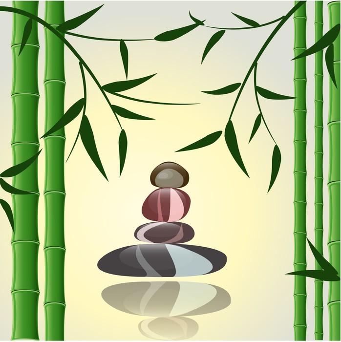 Vinylová Tapeta Design pozadí bambus s kameny pro lázně - Pozadí