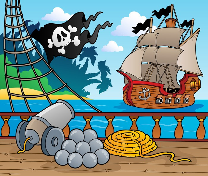 Nálepka Pixerstick Pirátská loď paluba téma 4 -