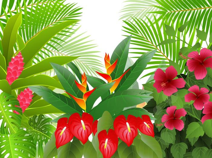 Nálepka Pixerstick Tropický prales pozadí - Stromy