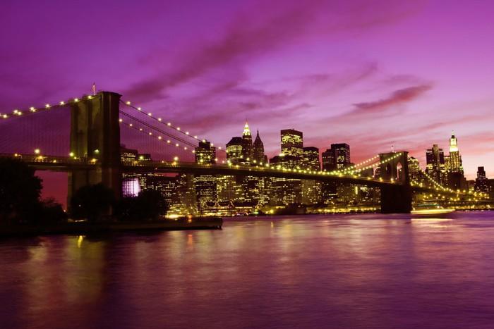 Tableau sur toile pont de brooklyn et manhattan au coucher - Toile pont de brooklyn ...
