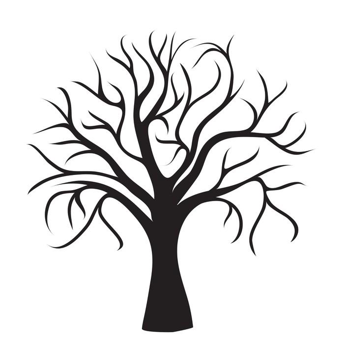 sticker arbre sans feuilles noir pixerstick - Arbre Sans Feuille