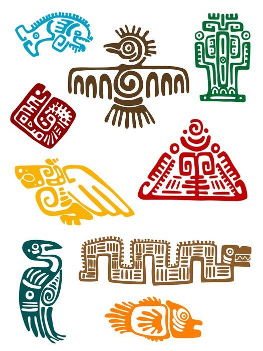 Vinylová Tapeta Starověký Maya monstra - Značky a symboly