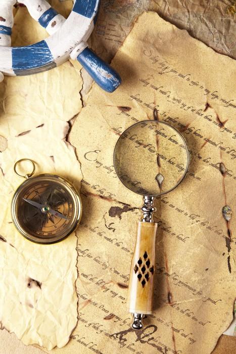 Vinylová Tapeta Vintage navigační vybavení, kompas a jiné nástroje - Lodě