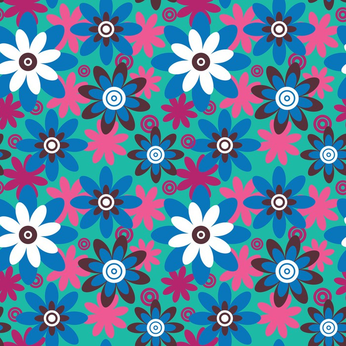 Vinil Duvar Kağıdı Dikişsiz colourfull çiçek deseni -