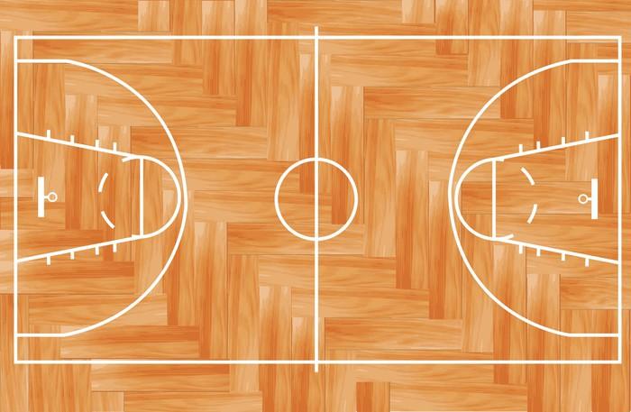 Wooden Parquet Floor Basketball Court Vector Illustration Wall