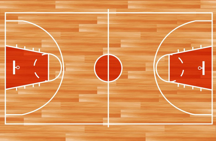 Wooden Parquet Floor Basketball Court Vector Wall Mural