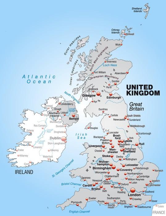 karta irland storbritannien Dekor Karta över Storbritannien med Irland i grått • Pixers®   Vi  karta irland storbritannien