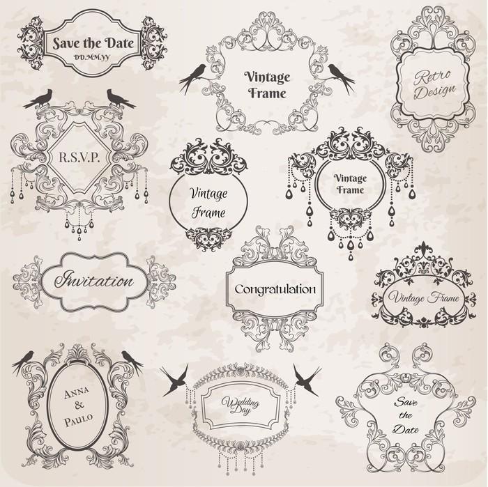 Pixerstick Aufkleber Vintage Rahmen Und Design Elemente Für Hochzeit,  Einladung   Feste