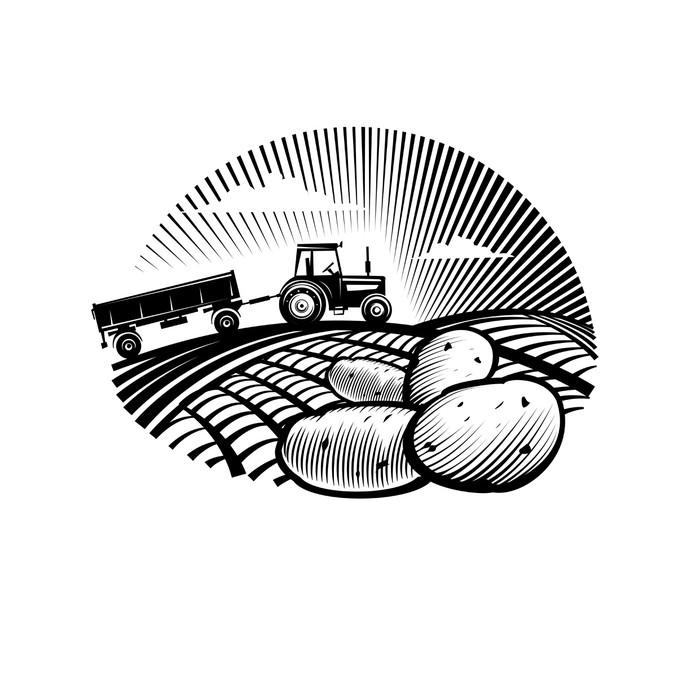 Vinylová Tapeta Bramborový proti zemědělského traktoru v poli, rytí stylu - Nálepka na stěny