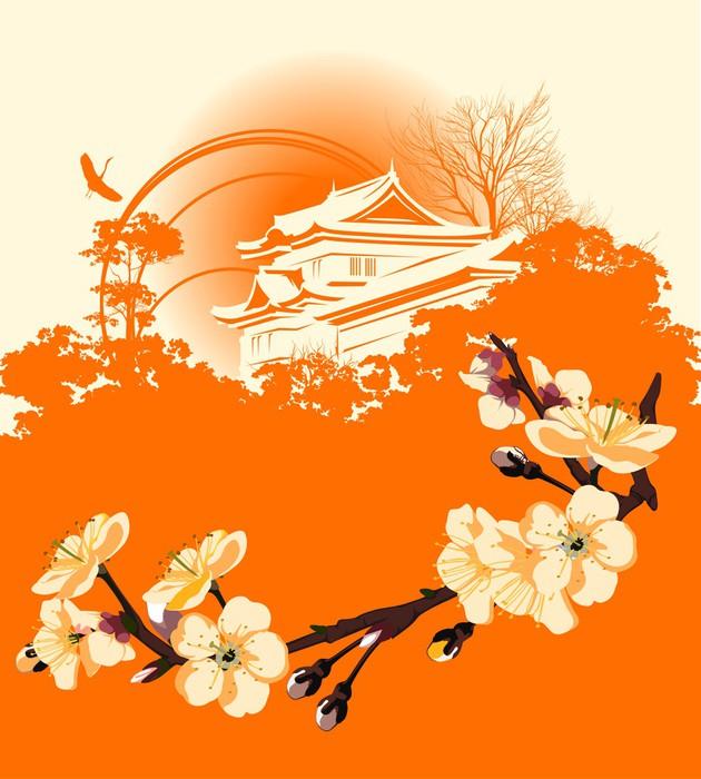 leinwandbild karte mit einer blume sakura und japanische. Black Bedroom Furniture Sets. Home Design Ideas