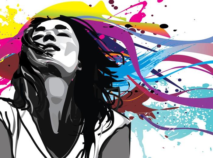 Vinylová Tapeta Dívka s barevným vektorem stříkající pozadí - Zábava