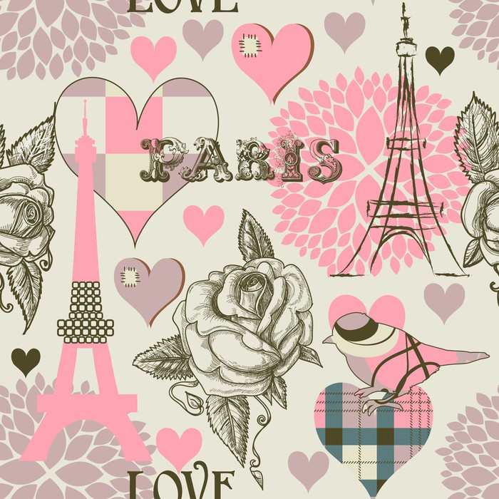 Paris Seamless Pattern Wall Mural Pixers 174 We Live To
