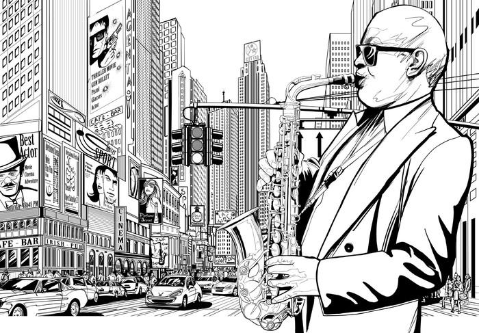 Papier Peint Vinyle Joueur de saxophone dans une rue de New-York - Jazz