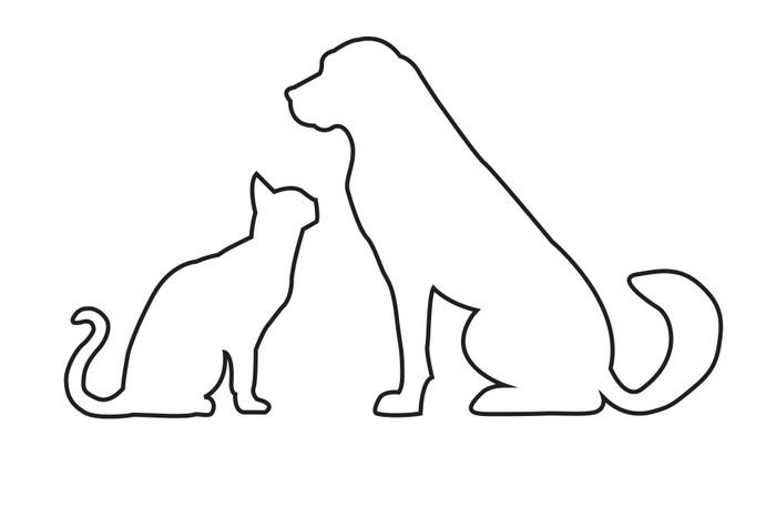 Carta Da Parati Sagome Di Cane E Gatto Isolato Su Bianco