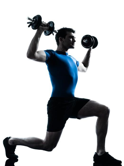 Vinylová fototapeta Muž cvičení silový trénink cvičení fitness držení těla - Vinylová fototapeta