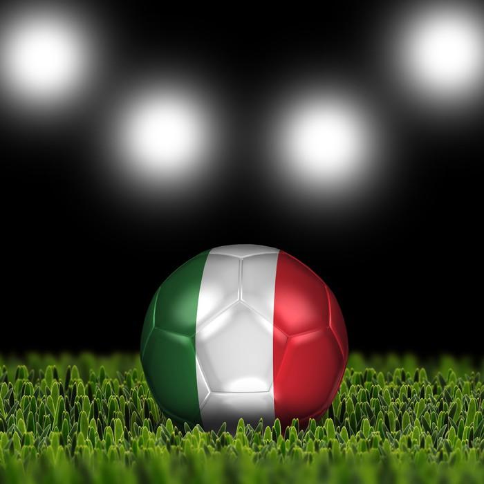 Vinylová Tapeta 3D fotbalové míče s národní vlajky Země Itálie - Týmové sporty