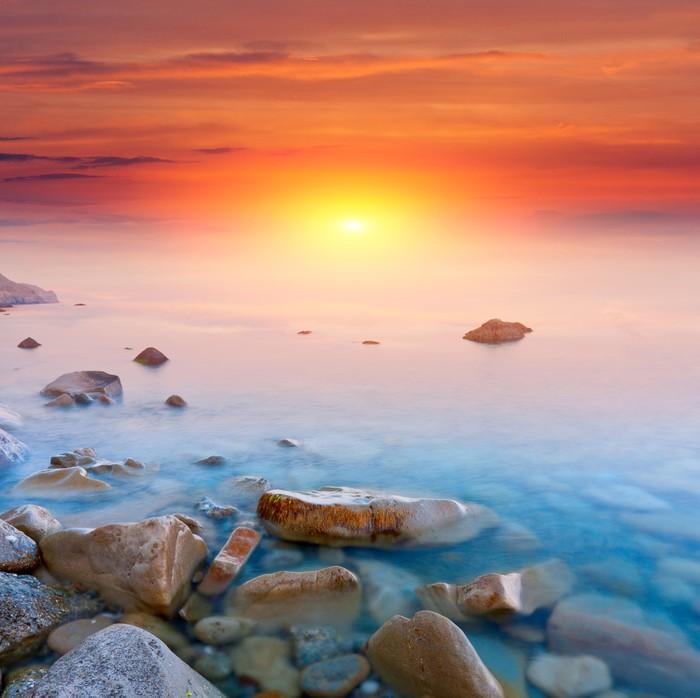 Vinylová Tapeta Západ slunce nad mořem - Voda