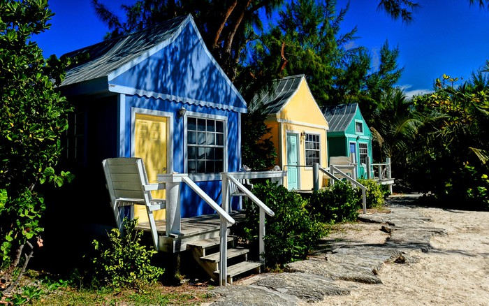 Colorful Beach Cottages Vinyl Wall Mural Holidays