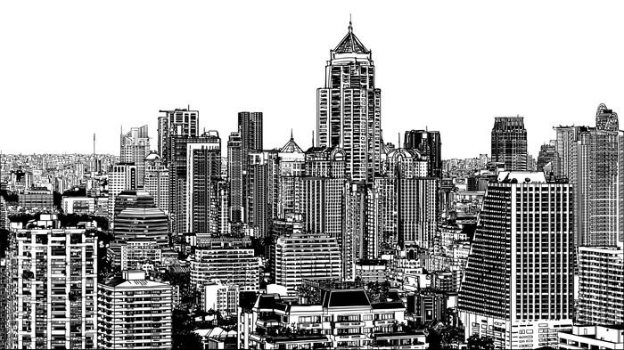Panoramic view of modern Bangkok near Asok Wall Mural - Vinyl - Themes
