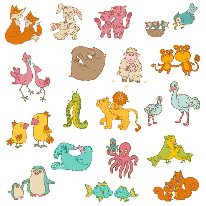 Baby Animals with Moms for your design and scrapbook hand dr