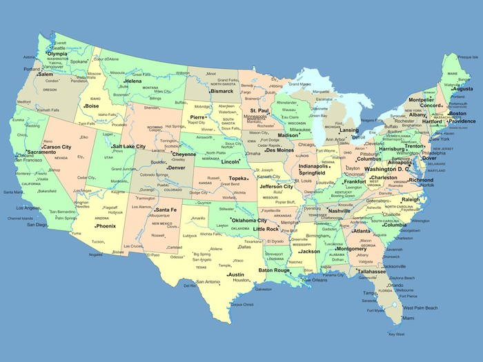 usa karta städer USA map with names of states and cities Wall Mural • Pixers® • We  usa karta städer